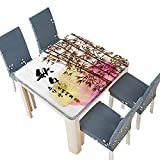 PINAFORE Spring & Summer Outdoor Tablecloth, Bamboo Painting with Japanese Words in Mid Autumn Festival Giving Harvest Multicolor 69 x 69 INCH (Elastic Edge)