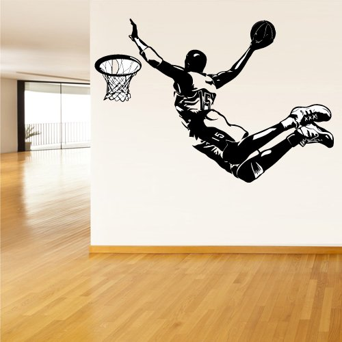 Wall Vinyl Sticker Decals Decor Art Bedroom Design Mural Modern Design Basketball Ball Sport Man Basket - Mural Designs
