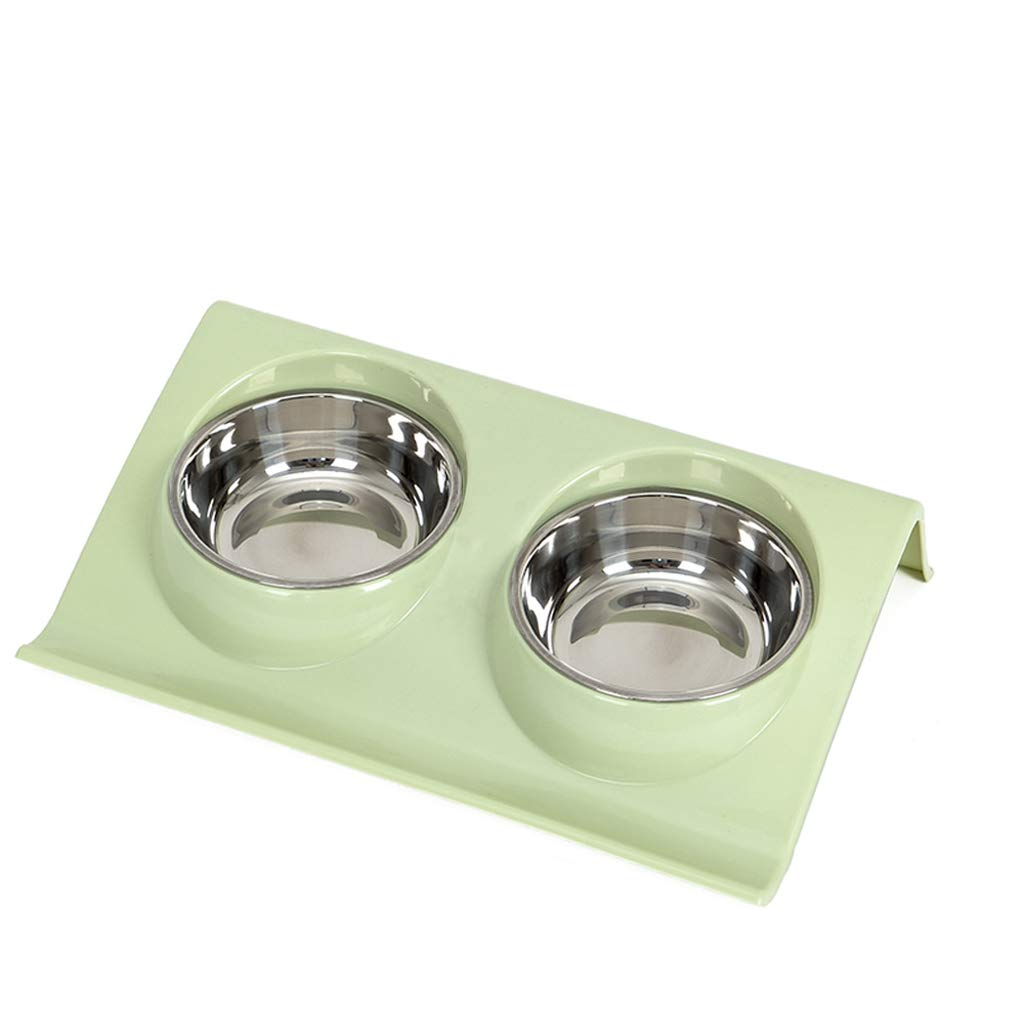 S CXQ Dog Bowl Cat Bowl Pet Stainless Steel Dog Bowl Double Bowl Cat Food Bowl Drinking Basin Green Rice Bowl Pet Supplies (Size   S)