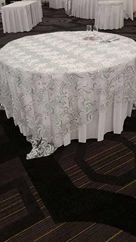 Fancy Overlay Decoration or Party Tablecloth 90 x 90 Inches Square (Item # 644 Swirl Design White)