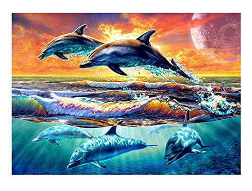 - DIY 5D Diamond painting full kits, ACTIMEX Rhinestone Crystal Embroidery Pictures Cross Stitch for Home Wall Decoration leaping dolphin 15.711.8 inch