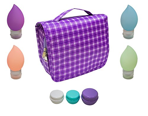 hanging-toiletry-travel-kit-oranizer-bag-with-3oz-silicone-bottles-and-cream-containers-purple