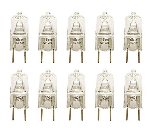 VSTAR® G8 120V 20W Halogen Light Bulbs,2700K,with G8 Base,Shorter<35mm(10 Pcs)