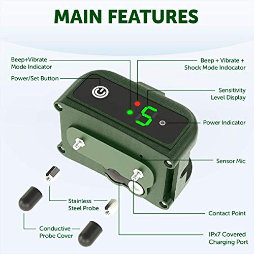 UPGRADED Q6 Rechargeable Bark Collar - Smart Barking Detection Module w/Triple Stop Anti-False Modes: Beep/Vibration/Shock for Small, Medium, Large Dogs & Breeds - IPx7 Waterproof (15-120 LBS)