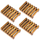 Awpeye 4 Pieces Bathroom Natural Wooden Soap Case Holder, Hand Craft Bathtub Shower