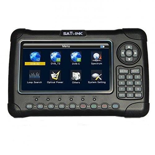 SATLINK WS-6980 7'' inch High Definition Digital Satellite TV Finder UK, Digital Satellite Signal Finder Meter, DVB-S2/C/T2 COMBO Spectrum analyzer / Optical Power Detection Constellation analyzer, Black