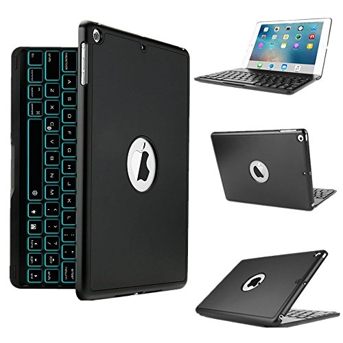 iPad 10.5 Keyboard Case,MeiLiio 7 Colors LED Backlit Wireless Bluetooth Keyboard Case with Flip Multi Angels Protective Cover,Folio Slim Smart Keyboard Cover for Apple iPad Pro 10.5 Tablet (Black)