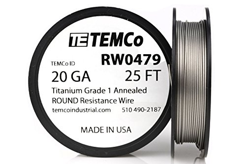 TEMCo Titanium Wire 20 Gauge 25 FT Surgical Grade 1 Resistance AWG ga (Best Titanium Wire For Vaping)