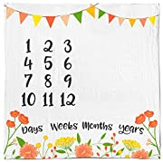 Baby Monthly Milestone Age Blanket - Boy + Girl. Baby Shower Gift Idea! First Days, Weeks, Months, Years. Large Photo Prop for Newborn, Infant, Or Toddler. Mom & Dad Keepsake. (Floral)