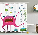 Ambesonne Funny Decor Collection, Underwater Beast Creature with Fun Monster Fish ''I'm Afraid of Monsters'' Quote Kids Decor, Polyester Fabric Bathroom Shower Curtain Set, 75 Inches Long, Pink Green