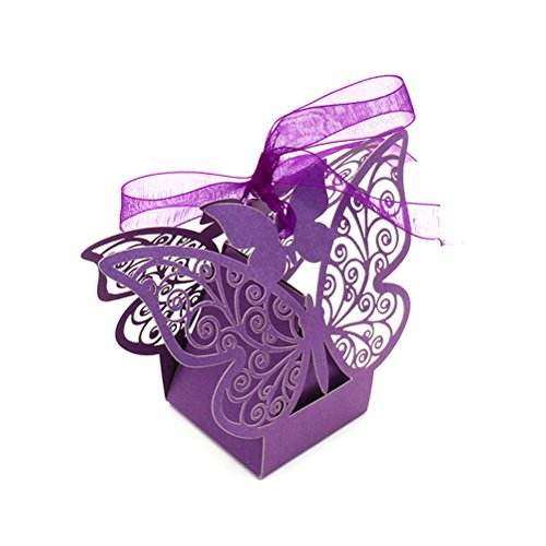 50Ct Small Bachelorette Bridal Shower Mother Day Party Candy Treat Gift Wrapping Boxes Baby Shower Birthday Party Packaging Boxes Supplies Purple Wedding Party Favors Treat Boxes