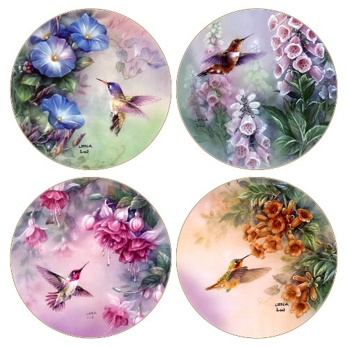 Hummingbird Coaster - CoasterStone AS8050 Absorbent Coasters, Hummingbird Assortment, 4-1/4-Inch, Set of 4
