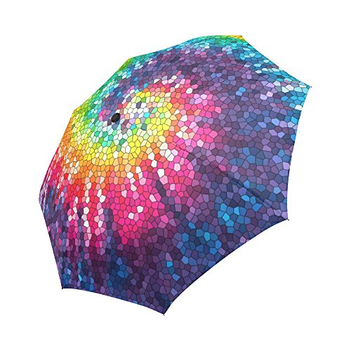 InterestPrint Colorful Tie Dye Swirl Spiral Windproof Compact One Hand Auto Open and Close Folding Umbrella, Abstract Psychedelic Rainbow Rain & Outdoor Unbreakable Travel Umbrella