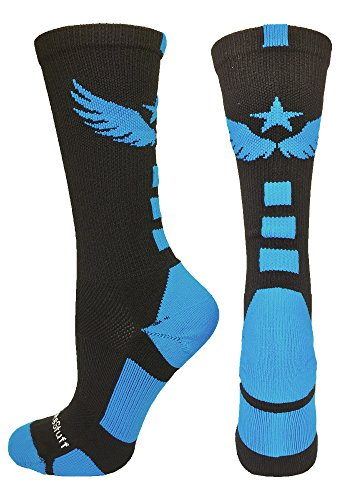 Madsportsstuff Light Speed Athletic Crew Socks  Black Electric Blue  Large