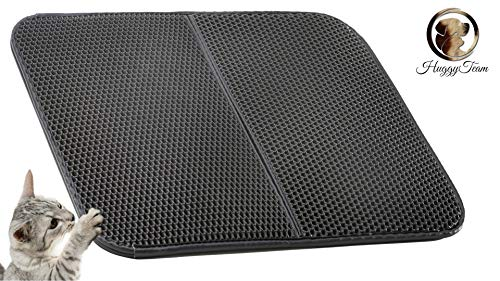 """HUGGYTEAM Premium Cat Litter Mat Traps Litter&Dust So Kitty Doesn't Track All Over Your Home.Saves Carpets,Floors,Less Cleaning.Large 30 x 22""""Fits Under Any Box.Easy Clean,Waterproof,Urine Repellent by HUGGYTEAM"""