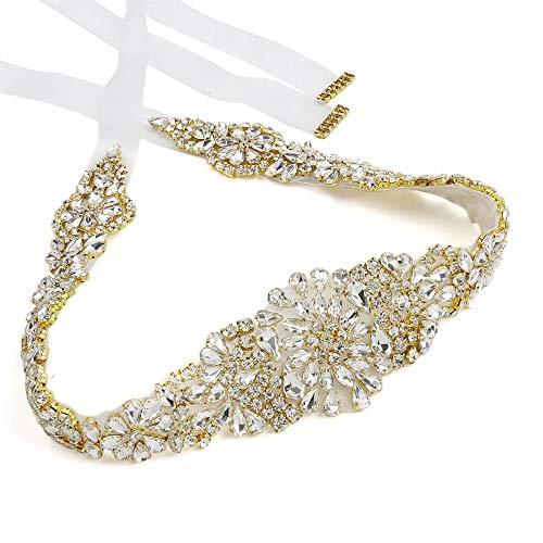 Bridal Belt Gold Crystal Rhinestone Wedding Belts Sash White Organza Satin Bridal Sash for Ball Gown and headhand Decor ()