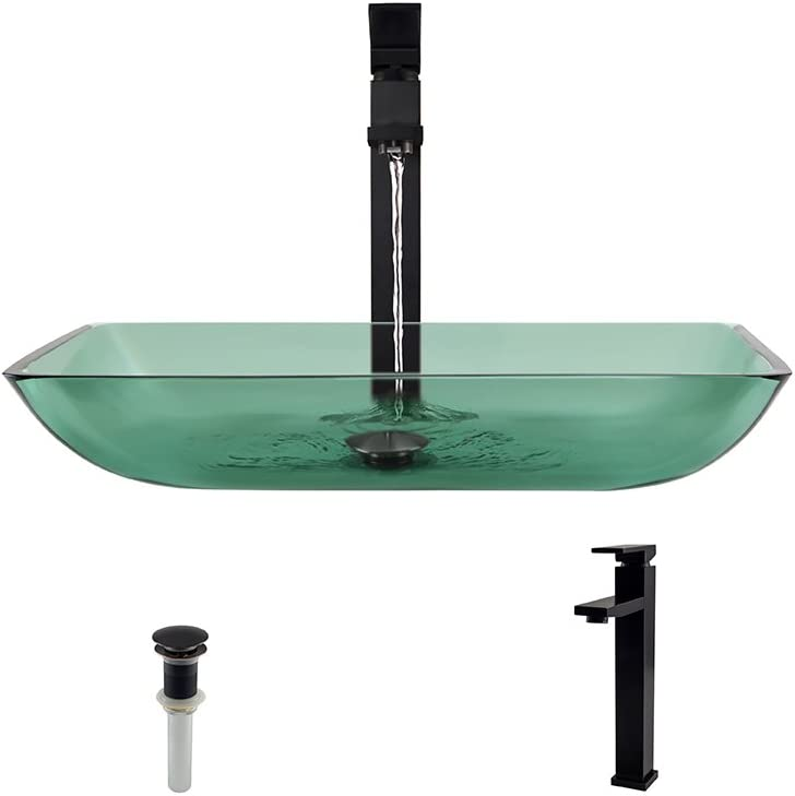 640 Emerald Antique Bronze Bathroom 721 Vessel Faucet Ensemble Bundle – 3 Items Vessel Sink, Vessel Faucet and Pop-Up Drain