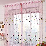 1pcs Grommet Windows Screening Printed Pink Balloons Voile Curtains Sheer Panel