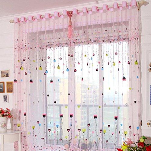 Gardine Kinderzimmer   Amazon De Yujiao Mao 2er Set Voile Gardinen Mit Osen Kinderzimmer