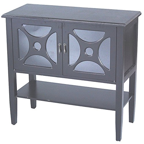 Heather Ann Creations 2-Door Console Cabinet with Half Circles Glass Insert, Black