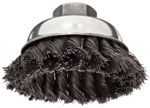 Weiler Vortex Pro Wire Cup Brush, Threaded Hole, Carbon Steel, Partial Twist Knotted, 3-1/2