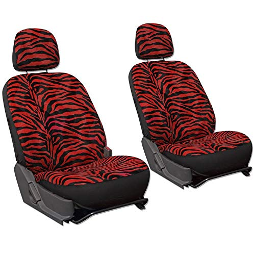 Motorup America Low Back Bucket Zebra Auto Seat Cover - Animal Print Full Set - Fits Select Vehicles Car Truck Van SUV - Red