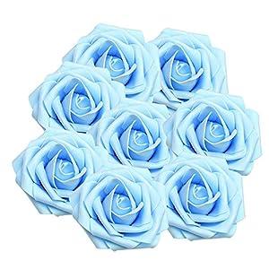 Enjoygous 50PCS Artificial Roses Flowers Heads, Fake Silk Roses Heads Vintage Floral Decor for DIY Wedding Bouquets Centerpieces Arrangements Party Baby Shower Home Decorations 12