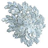 Sindary Stunning 4.33'' Wedding Bridal Teardrop Flower Brooch Pin Pendant Clear Austrian Crystal BZ4672