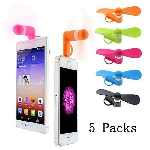TENKEY 5 Packs 2 in 1 Micro USB Mini Fan Lightning Mini Fan For Iphone 7 7 plus 6 Samsung Galaxy S7 Mini Fan S6 Plus Portable Mini Fan Handheld Mini Fan android phone fan(Random Colors) (5-Pack) by TENKEY