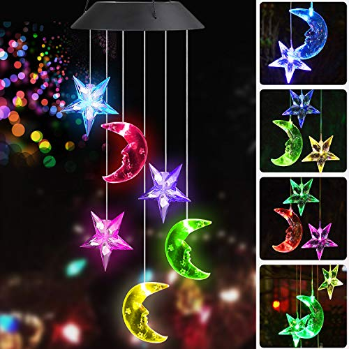 Sunjoyco Solar Wind Chimes Color-Changing Moon & Stars, Outdoor Waterproof Wind Chime Mobile Portable LED Solar Powered Colorful Light Romantic for Home Patio Party Yard Garden Decoration ()