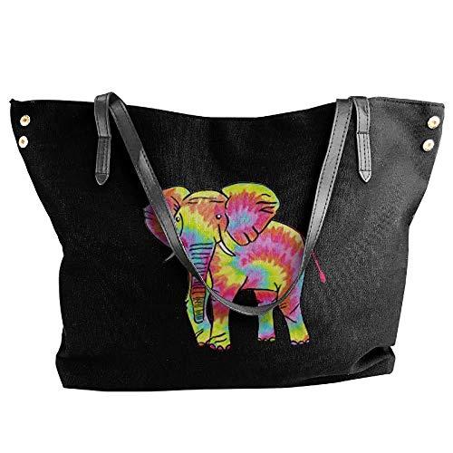 - Women's Canvas Shoulder Handbags,Tie Dye Elephant Casual Work Bag For Girls