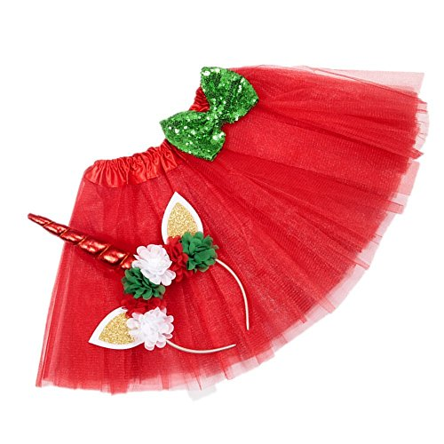 Cheap Christmas Costumes For Kids - Layered Tutu Skirts with Unicorn Horn