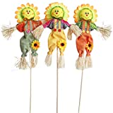 IFOYO Small Fall Harvest Scarecrow Decor, 3 Pack 19.7in Happy Halloween Decorations Scarecrow Halloween Decoration for Garden, Home, Yard, Porch, Thanksgiving Decor (50cm, Sunflower)