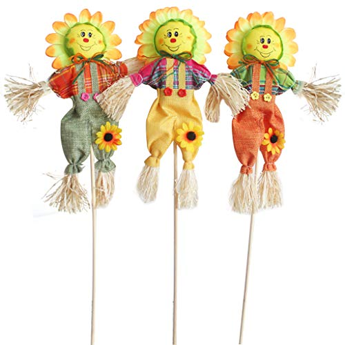 IFOYO Small Fall Harvest Scarecrow Decor, 3 Pack 19.7in Happy Halloween Decorations Scarecrow Halloween Decoration for Garden, Home, Yard, Porch, Thanksgiving Decor (50cm, Sunflower) -