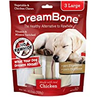 O89A8 DreamBone Vegetable & Chicken Dog Chews, Rawhide Free, Large, 3-Count