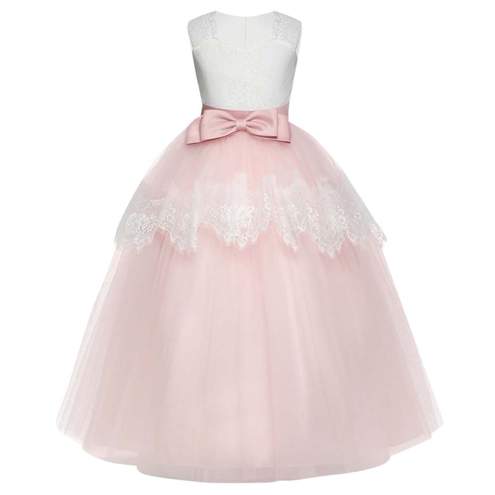 Lurryly Childrens Girls Bowknot Princess Gown Party Sleeveless Tutu Dress 7-11 T