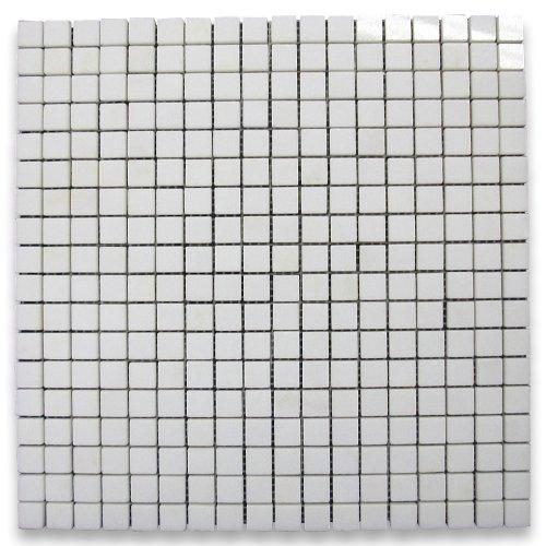 Thassos White Greek Marble Square Mosaic Tile 5/8 x 5/8 Polished -