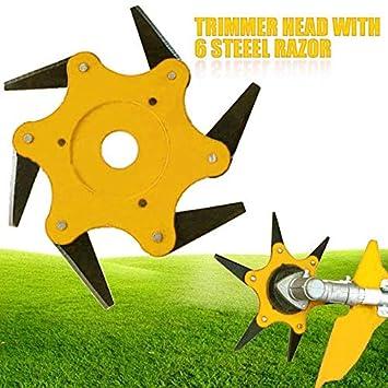 Womdee Cabezal de Corte de Hierba 6 Cuchillas de Acero 65Mn para reemplazar la cortadora de Cadena,desbrozadora,los Accesorios de la cortadora de ...