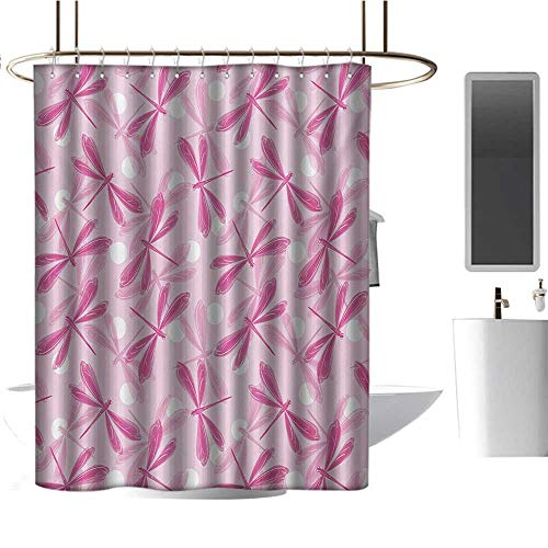 Shower Curtain for Bathroom Dragonfly,Vibrant Spring Theme Beauty Pattern with Winged Inspirational Insect Image,Fuchsia Baby Pink,Clear Metal Thick Bathroom Shower Curtains 54