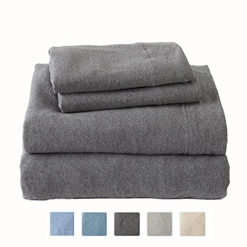 Extra Soft Heather Jersey Knit (T-Shirt) Sheet Set. Soft, Comfortable, Cozy All-Season Bed Sheets. Carmen Collection By Great Bay Home Brand. (Queen, Charcoal) (Jersey Knit Bed Sheets)