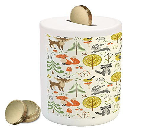 Lunarable Animals Piggy Bank, Woodland Forest Animals Trees Birds Owls Fox Bunny Deer Raccoon Mushroom Print, Printed Ceramic Coin Bank Money Box for Cash Saving, (Mushroom Bank)