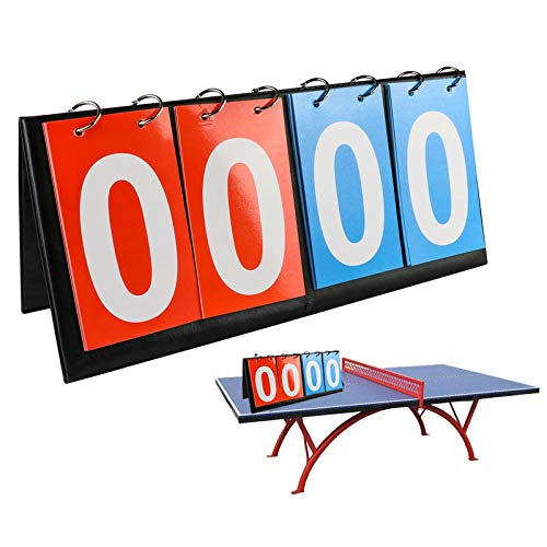 APORO 4-Digital Portable Table Top Scoreboard Flipper, Multi Sports Score Flip Scoreboard (0-99)
