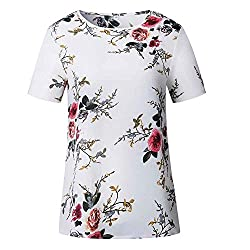 Dayseventh Summer Deals 2019 ! Women Short Sleeve Floral Printing Blouse Casual Loose T Shirt Wh L White