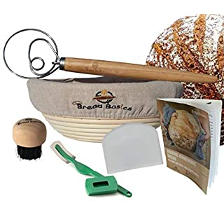 BreadBasics Banneton Proofing Basket   Premium Homemade Bread Starter Kit for Beginners   Includes Step by Step eBook, Bowl Scraper & Whisk, Lame, Brotform Liner, Cleaning Brush   Sourdough Supplies