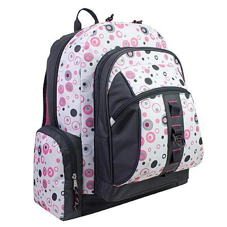 AKA Sport | Molecular Backpack in White with Pink/Charcoal Print (13''x19''x8'' inches) by AKA Sport