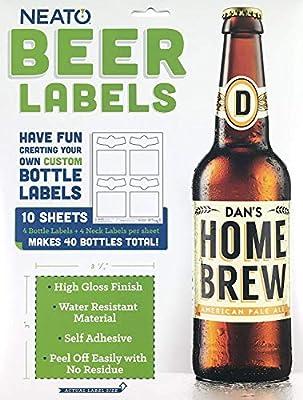 Neato Blank Beer Bottle Labels - Water Resistant, Vinyl, For InkJet Printers - Online Design Label Studio Included