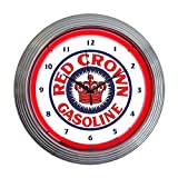 Neonetics Home Indoor Restaurant Kitchen Decorative Red Crown Gasoline Neon Wall Clock