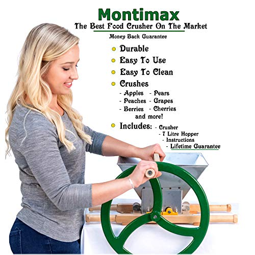 Fruit & Apple Crusher for Wine & Cider Pressing - Manual Juicer Grinder & Fruit Scatter - Heavy Duty Stainless Steel Cutting Blades & Hopper - By Green Max Products by Montimax By Green Max Products (Image #3)