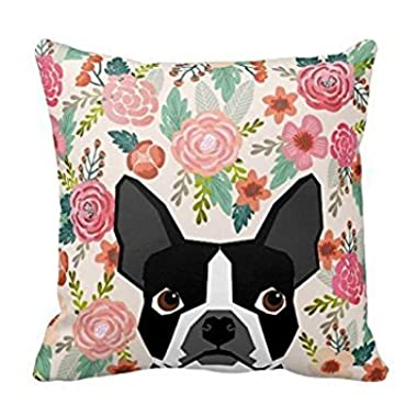 Boston Terrier Cute Flower Print Pet Portraits Throw Pillow Case