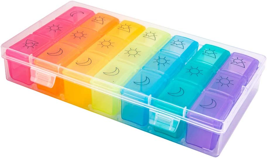 Weekly Pill Organizer 3 Times A Day – 7 Day Pill Box – Non-BPA Food Grade Plastic – Lightweight and Travel Friendly – Ideal Pill Case for Supplements, Vitamin, Medication